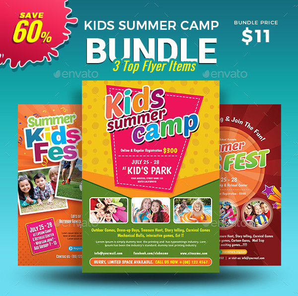 Colorful Kids Summer Camp Flyers