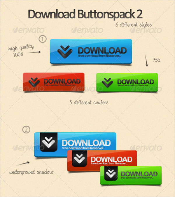 Colorful Download Button Pack