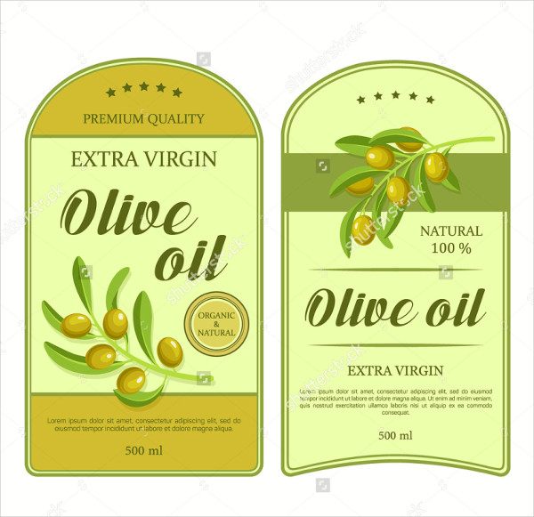 Creative Stickers Olive Oil Green Label Templates