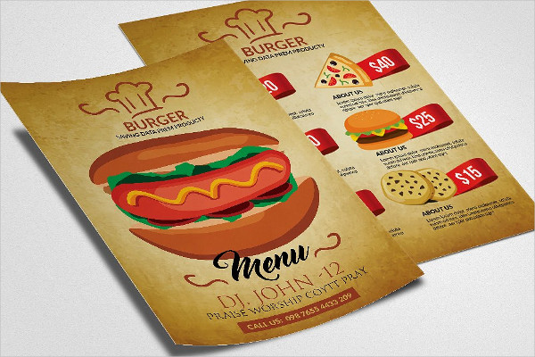 Double Sided Burger Menu Flyer Template