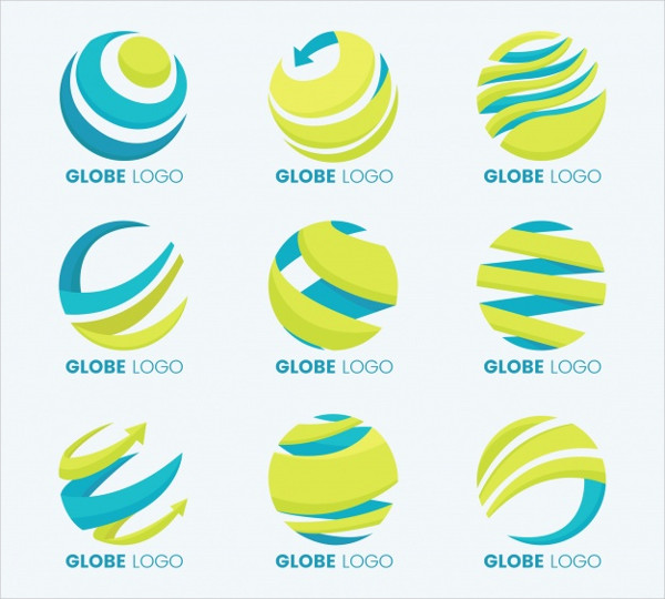 Earth Globe Yellow & Blue Logo Collection