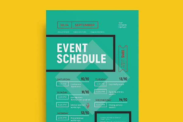 Sample Event Schedule Planner Template | Formal Word