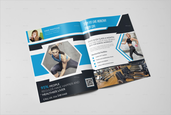 Clean Fitness Bifold Brochure Template