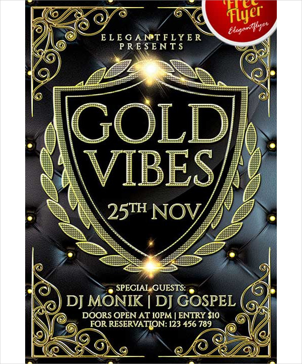 Free Anniversary Gold Vibes Flyer Template