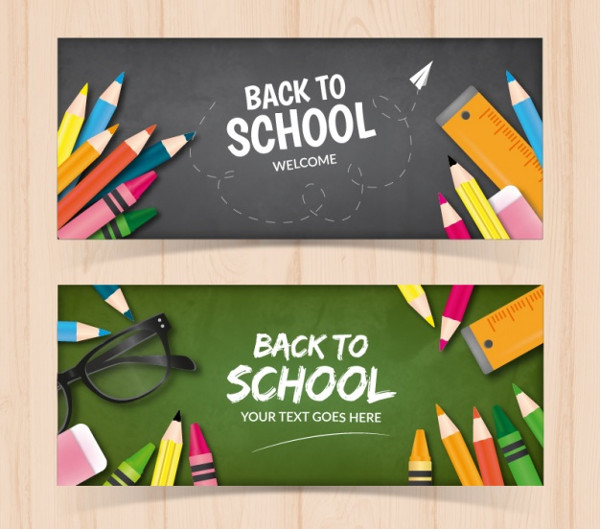Free Banners of Blackboards with Pencils