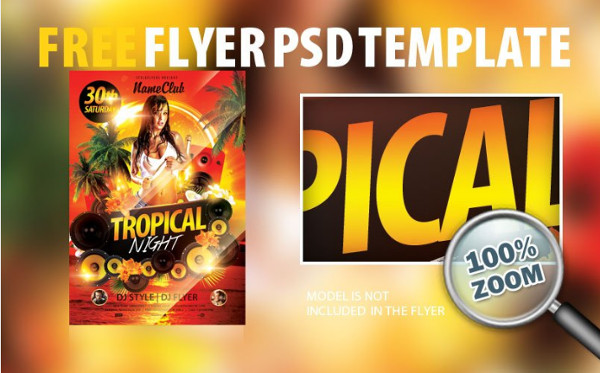 Free Tropical Night Party Flyer