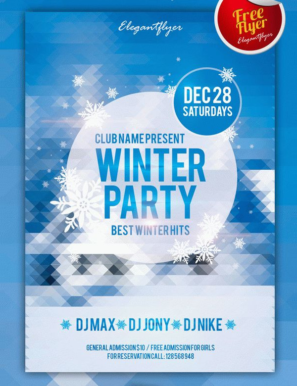 Free Winter Club Party Flyer Template