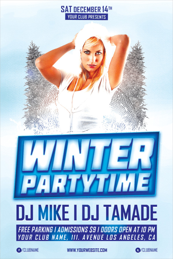 Free Winter Party Time Flyer