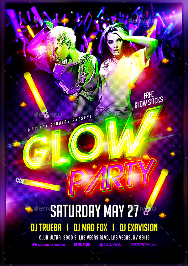 23  glow party flyer templates