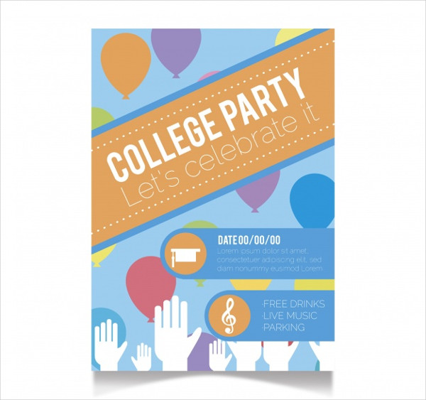 Graduation Party Flyer with Balloons Free