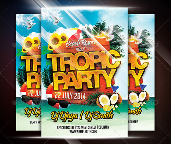 Holiday Tropical Party Flyer Template