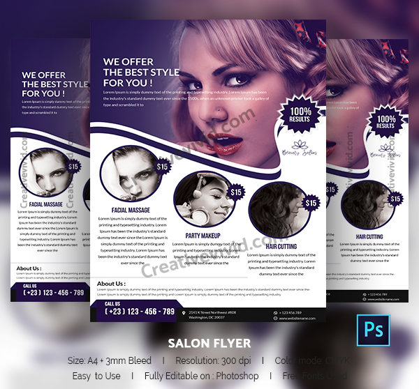 Free Salon Flyer Templates  BesikEightyCo