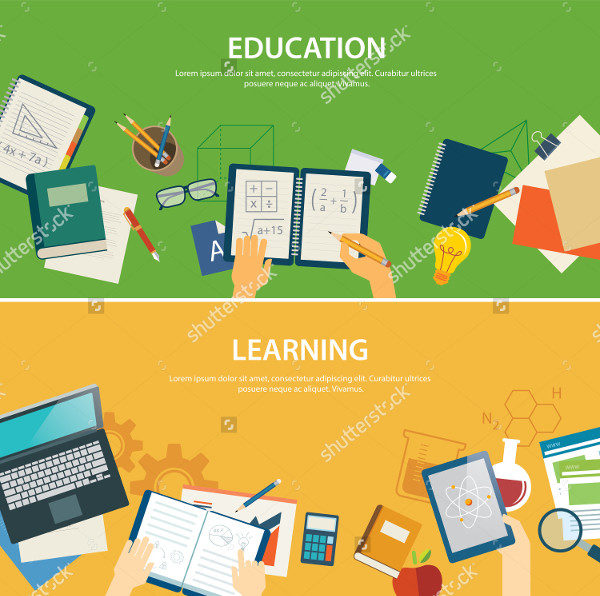 Education Learning Banner in Flat Design
