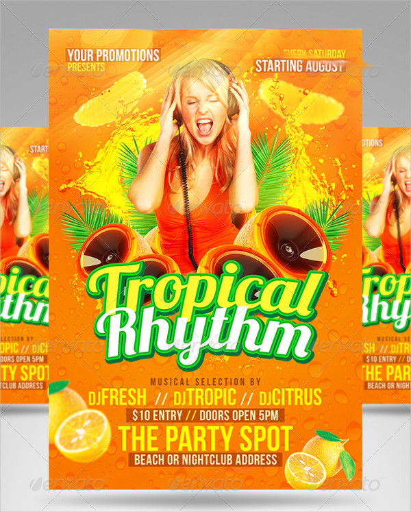 Tropical Rhythm Party Flyer Template