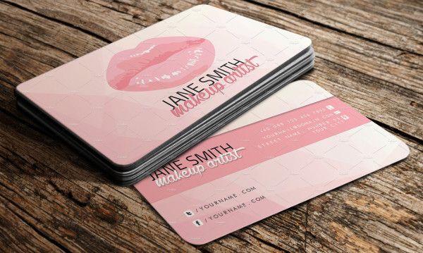 Pink Artistic Business Card Template