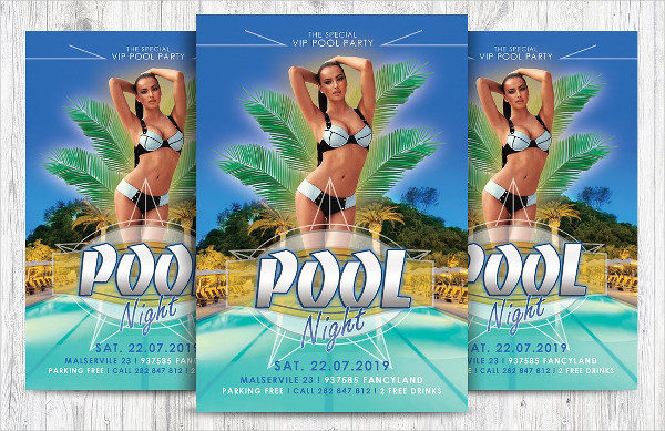Pool Night Party Flyer Template