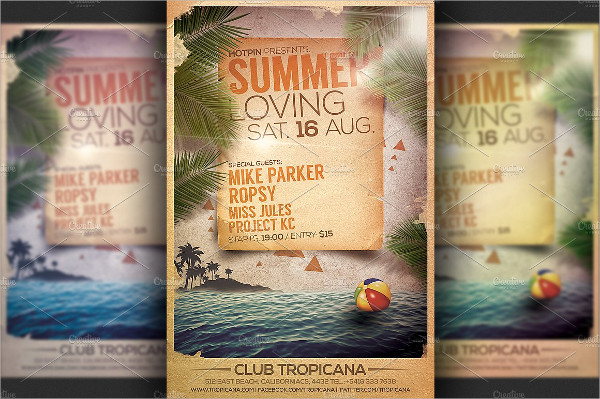 Tropical Pool Party Flyer Template