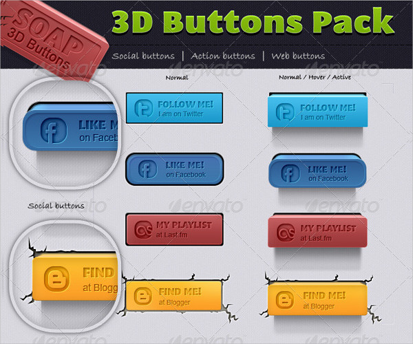 Resizable 3D Button Pack