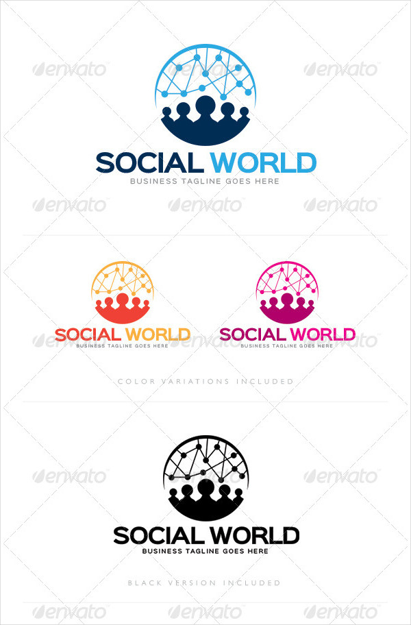 Perfect Social World Logo Template