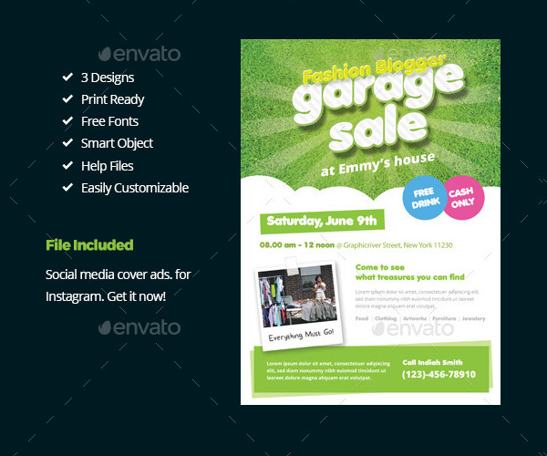 Stylish Garage Sale Flyer Templates