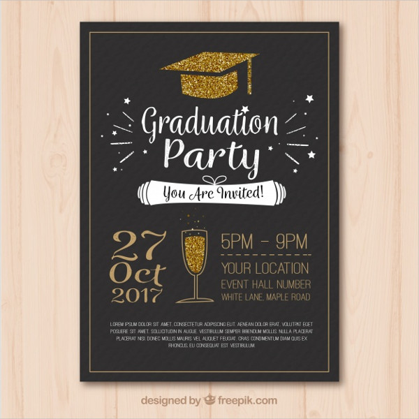 Stylish Graduation Party Poster or Flyer Template Free
