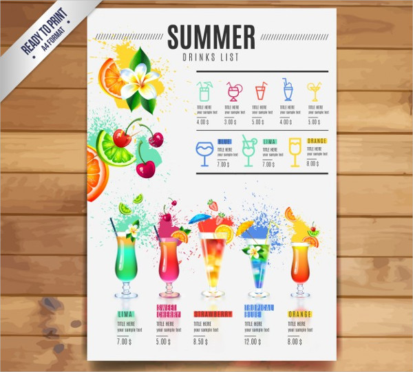 21  cocktail menu templates