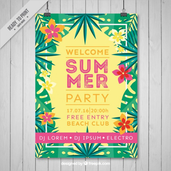 Summer Party Flyer With Tropical Flowers Free