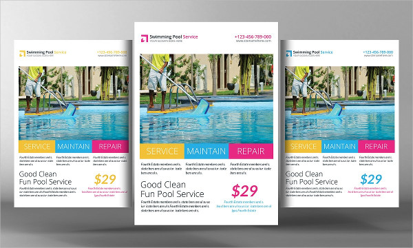 Swimming Pool Cleaning Service Flyer Design