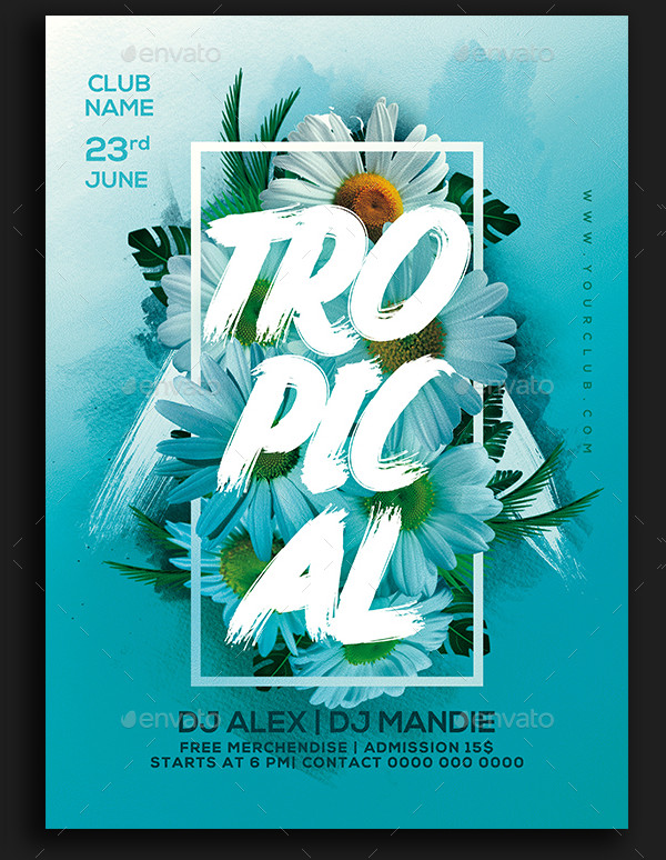 Unique Tropical Party Flyer Template