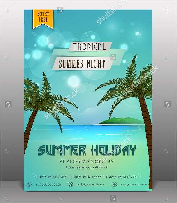 Tropical Summer Holiday Party Flyer Template