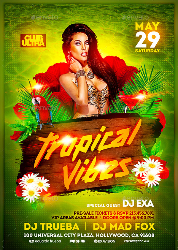 PSD Tropical Vibes Party Flyer Template