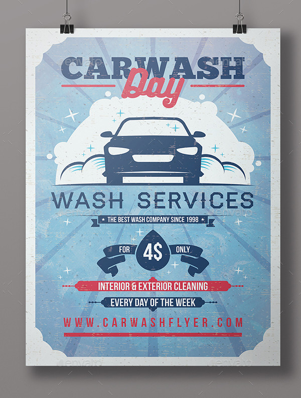 Vintage Car Washing Day Flyer