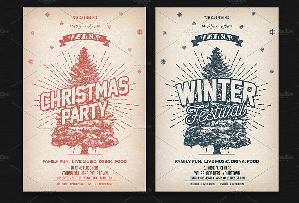 Vintage Christmas Winter Party Flyer