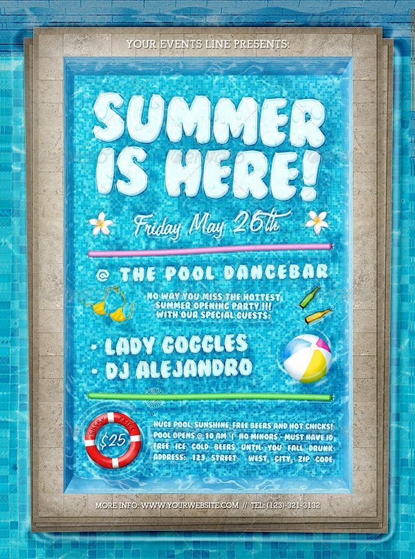 Pool Party Flyer Templates  Free Psd Ai Eps Format Download