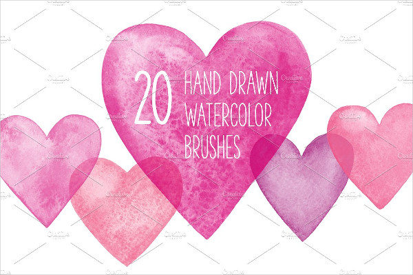 Watercolor Hearts Brushes