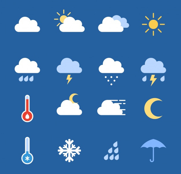 Weather Icon Collection Free Vector