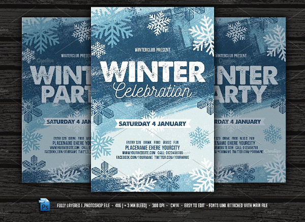 27  winter party flyer templates