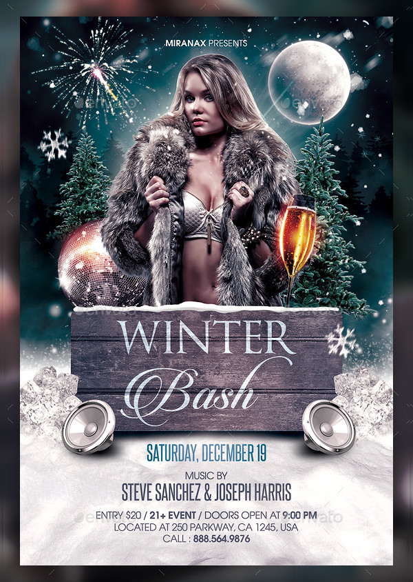Winter Party Editable Flyer