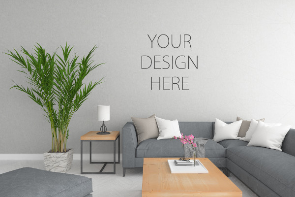3D Illustration Interior or Blank Wall Mock up