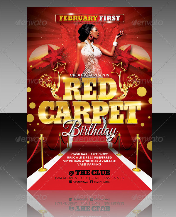 Red Carpet Party Flyer Templates  Free  Premium Download