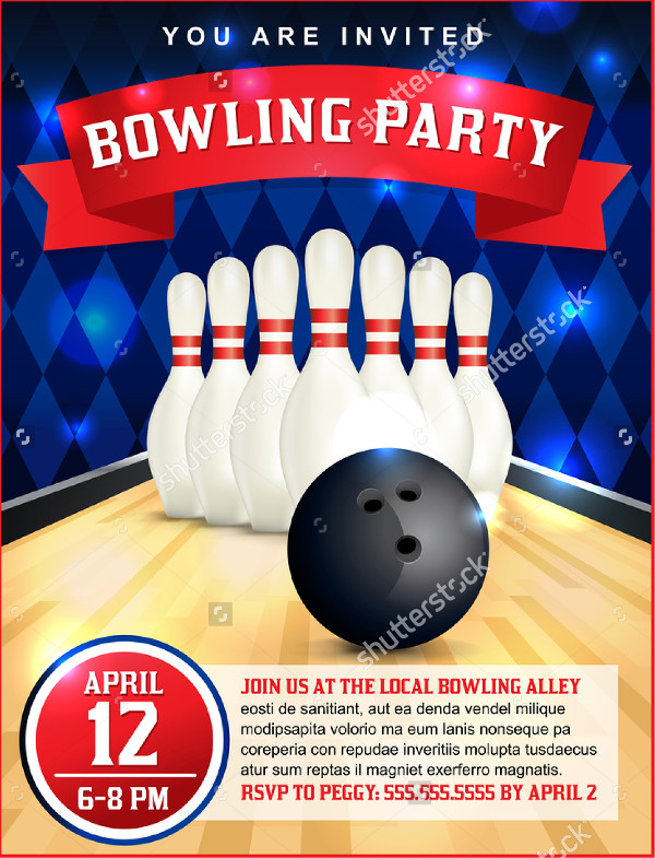 Bowling Birthday Flyer Template