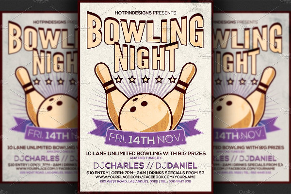 Print Ready Bowling Night Flyer Template