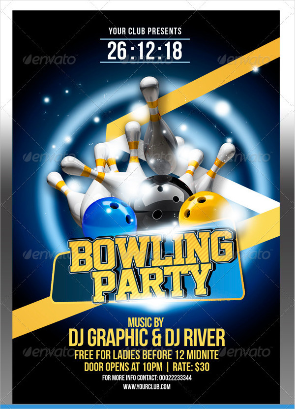 Bowling Club Party Flyer Template