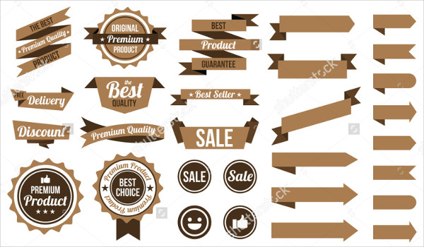 Set of Brown Web Badges & Labels
