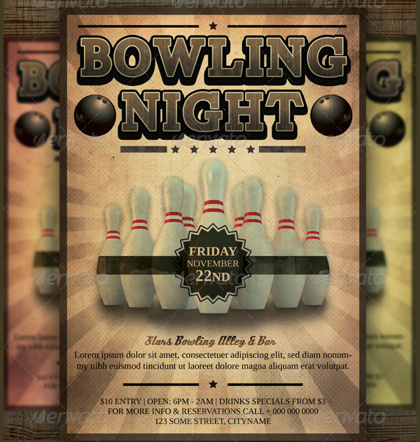 Customizable Bowling Tournament Flyer