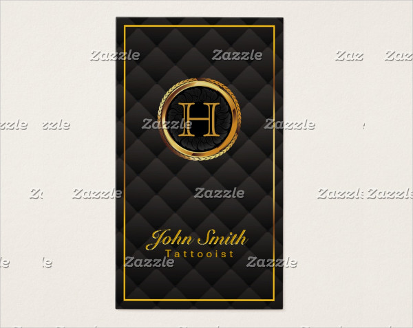 Deluxe Gold Monogram Tattoo Art Business Card