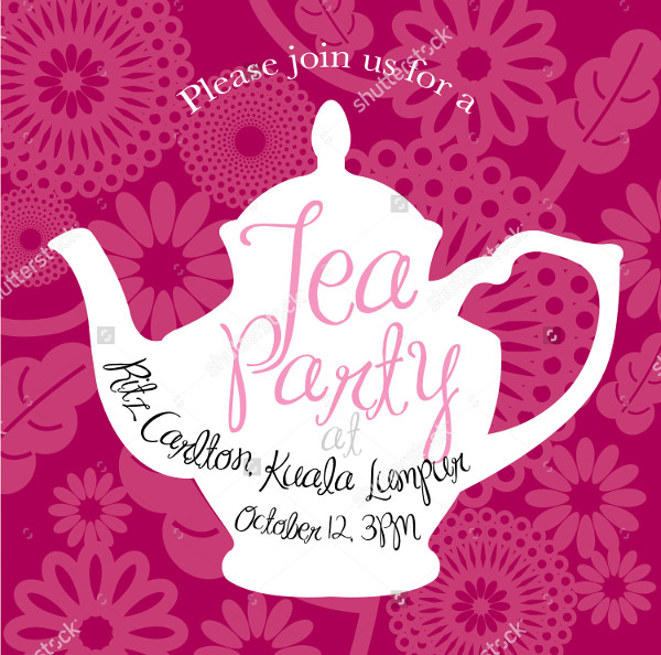 Floral Tea Party Vector Illustration Invitation