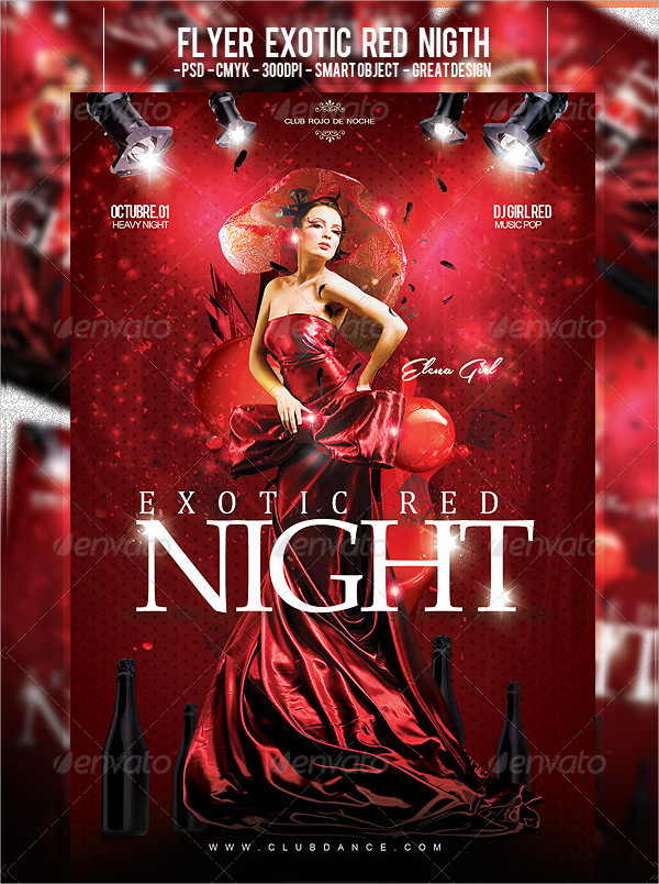 Exotic Red Night Flyer Template