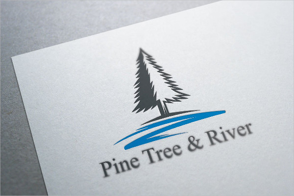 Pine Tree & River Logo Template