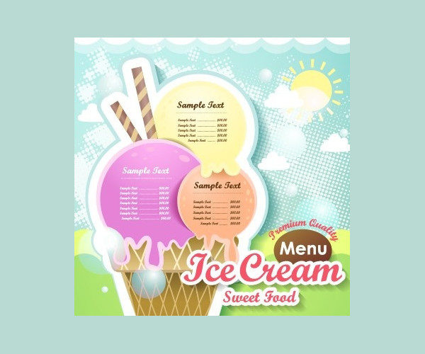Free Ice Cream Design Menu Template